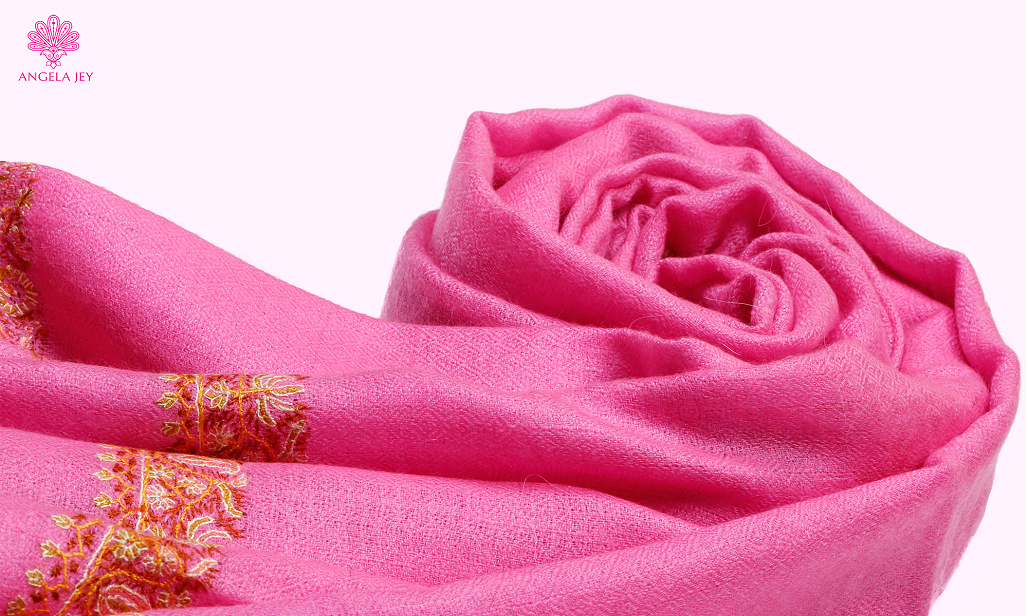 pink embroidered pashmina scarf