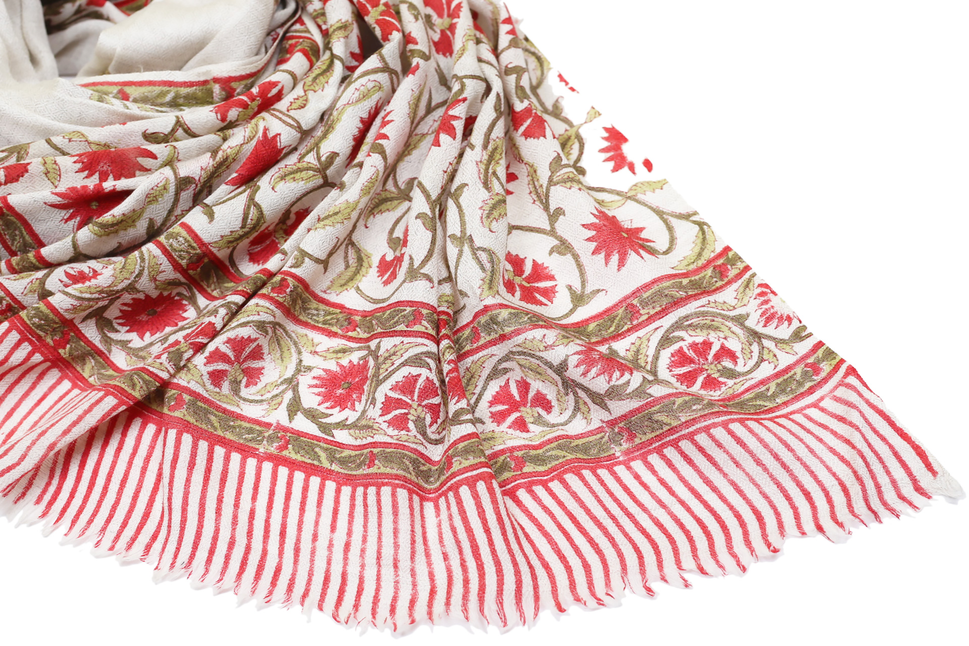 Printed Cotton Scarf Red