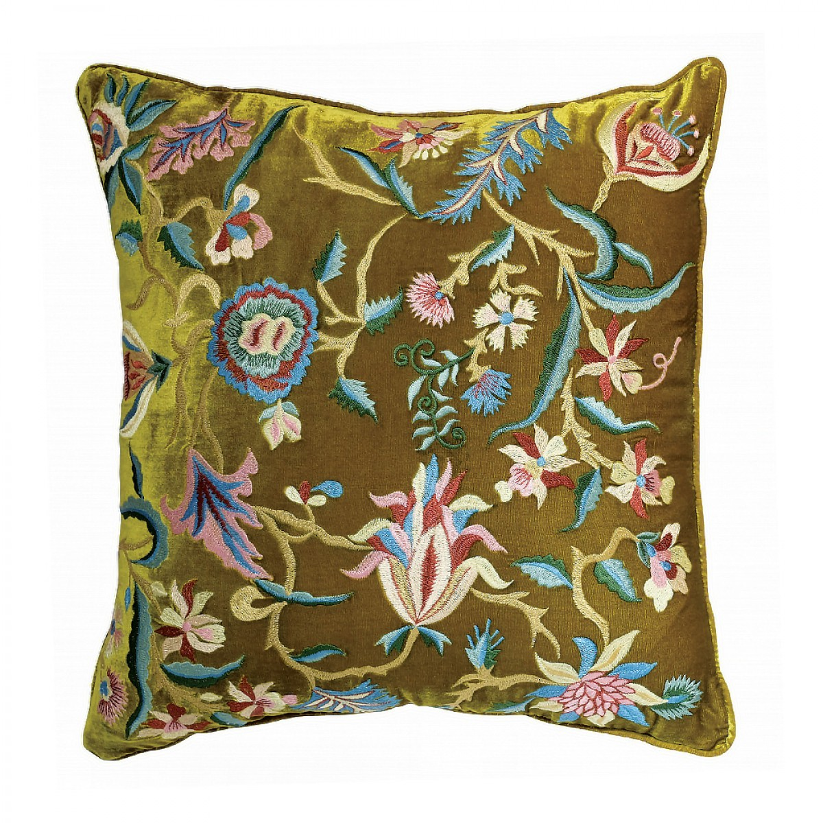 Designer Embroidered Cushion Cover - Olive