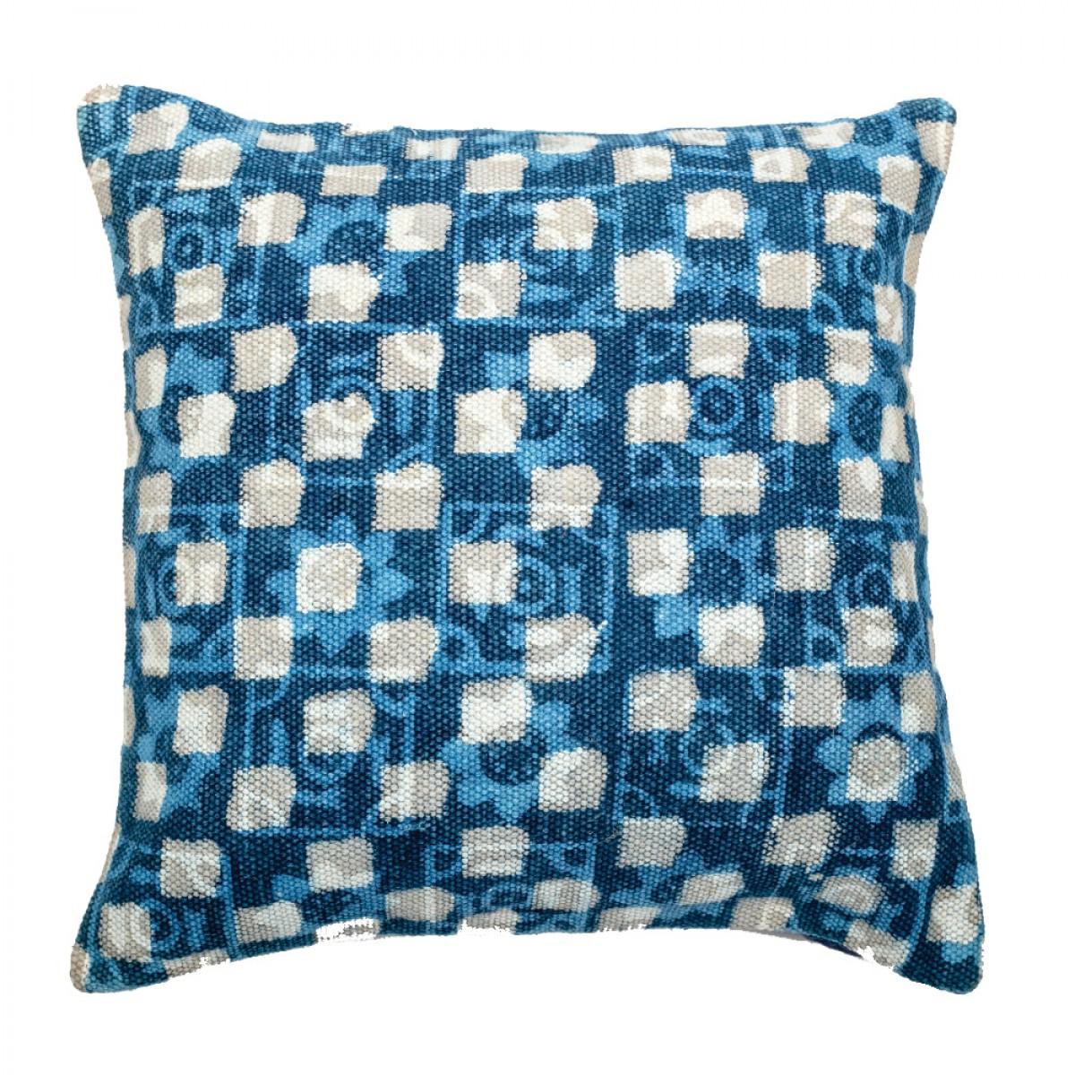Indigo Cotton Cushion Cover - Cube