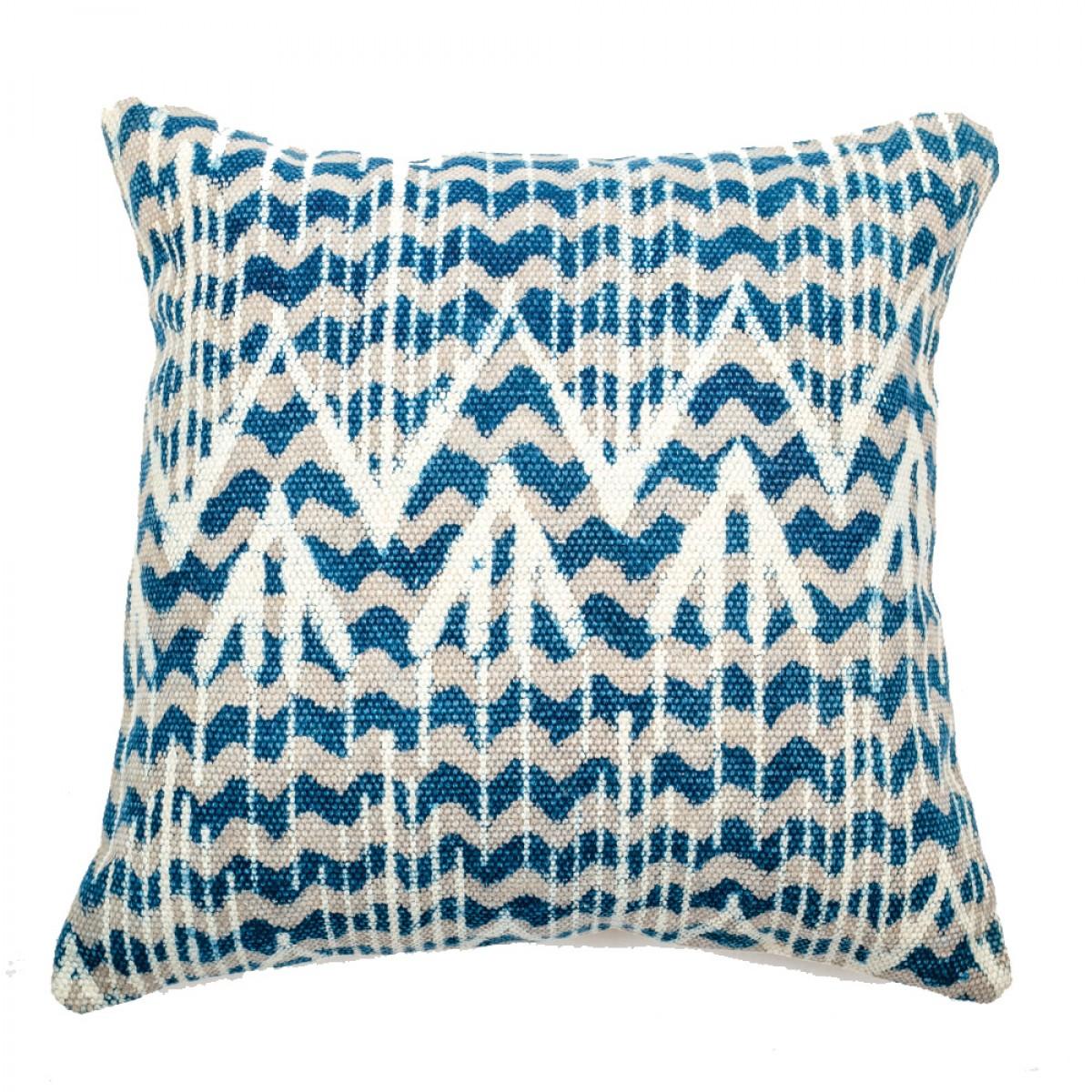 Indigo Cotton Cushion Cover - Zig Zag