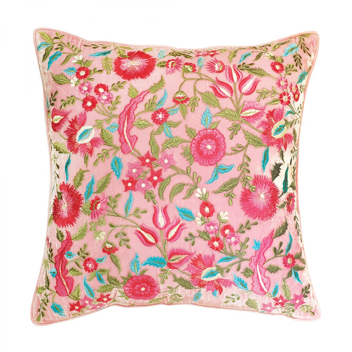 Designer Embroidered Cushion Cover - Rose