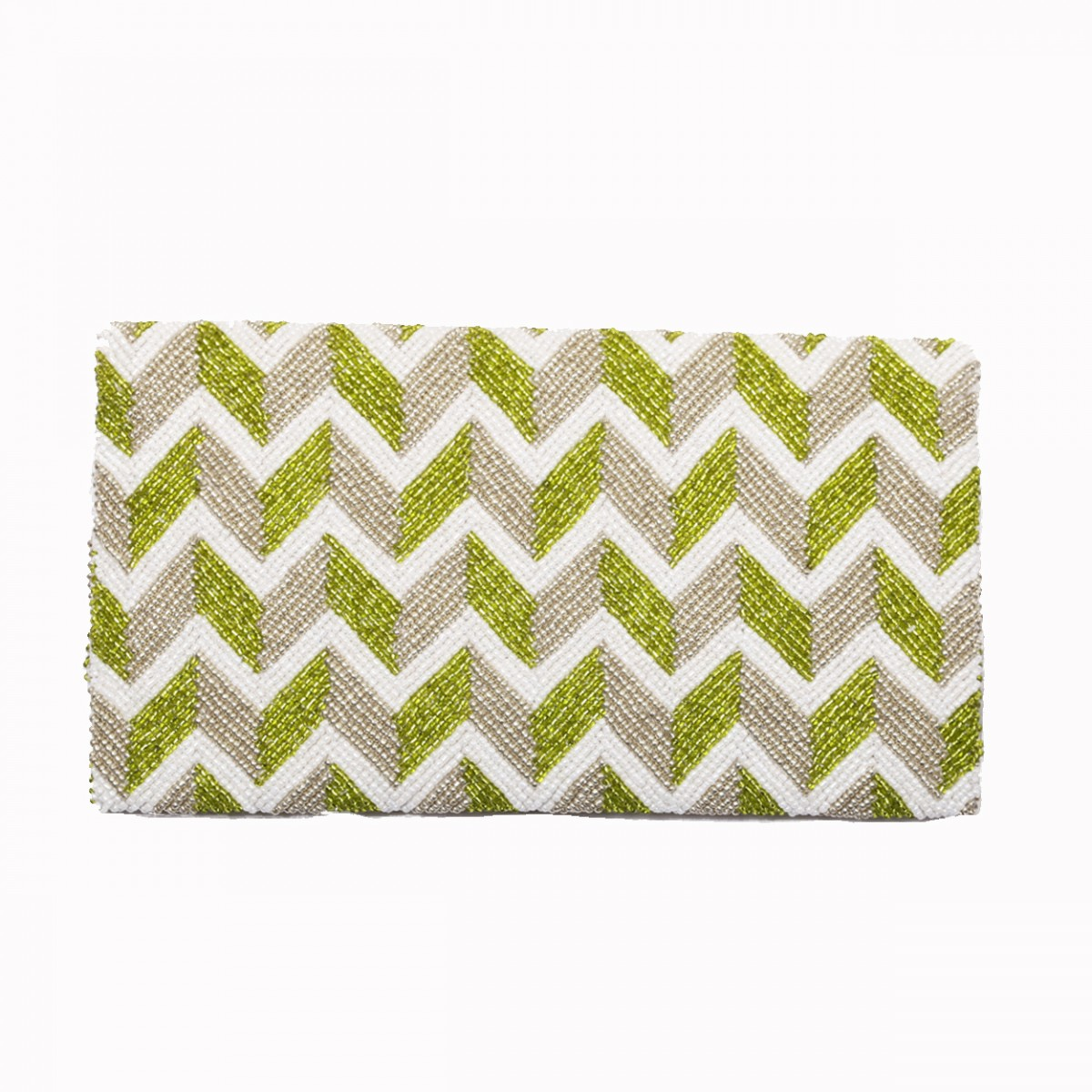 Green beaded evening clutch bag