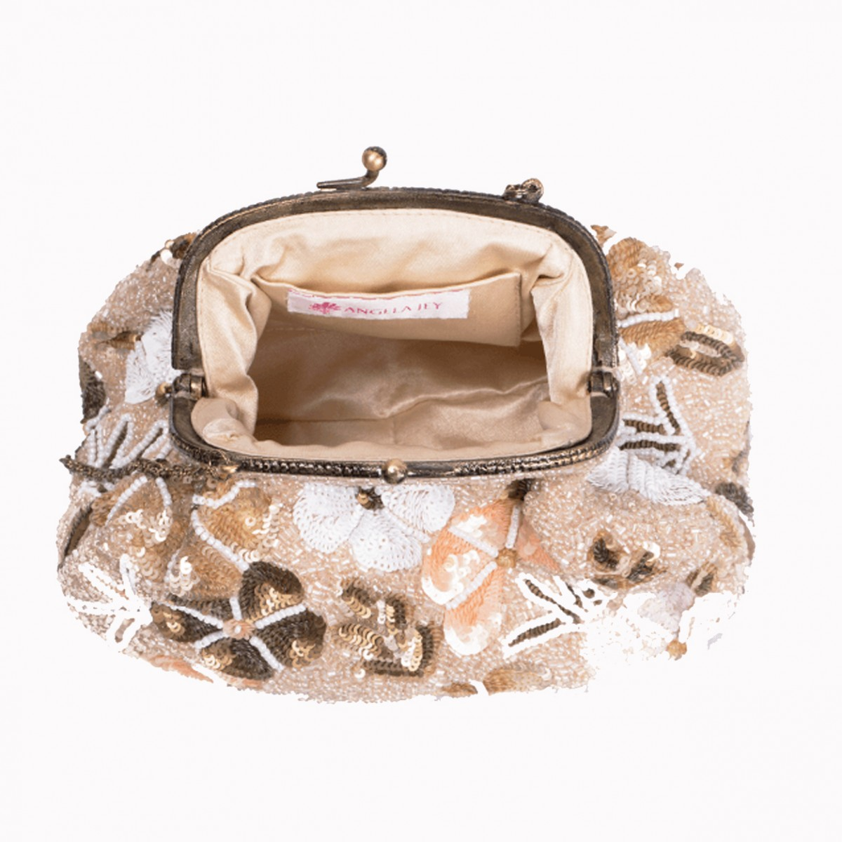 Beaded Sequin Flower Handbag - Beige