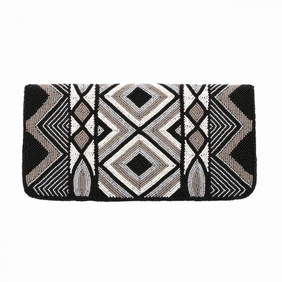 Black and white beaded evening clutch bag