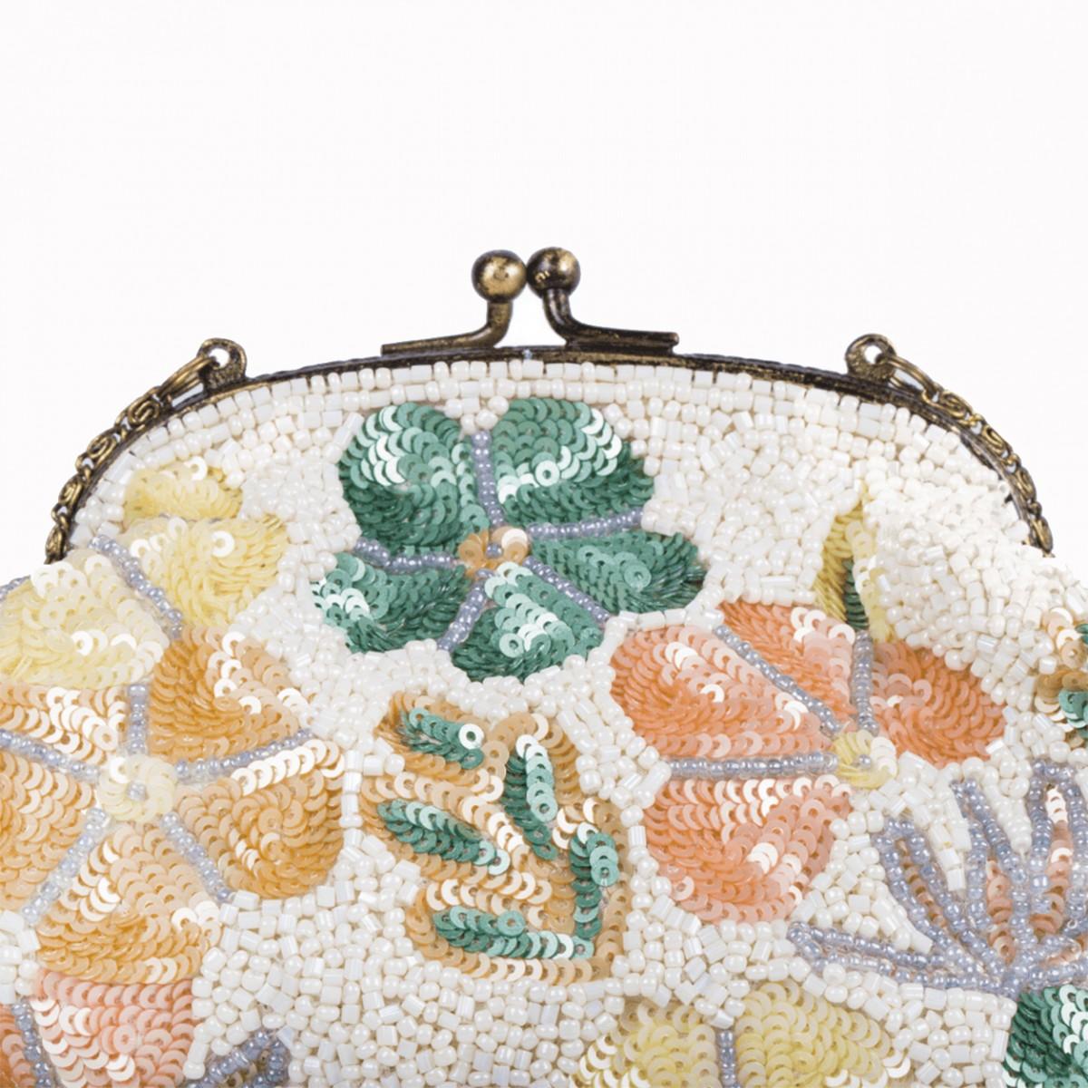 Beaded Sequin Flower Handbag - White