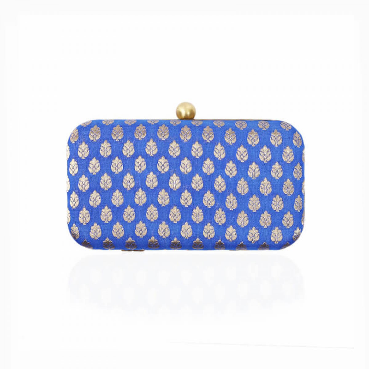 Evening Gold Flower Clutch Bag - Blue