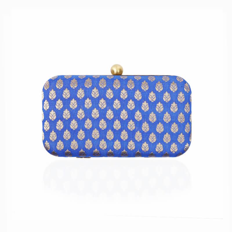 Evening Gold Flower Clutch Bag - Blue
