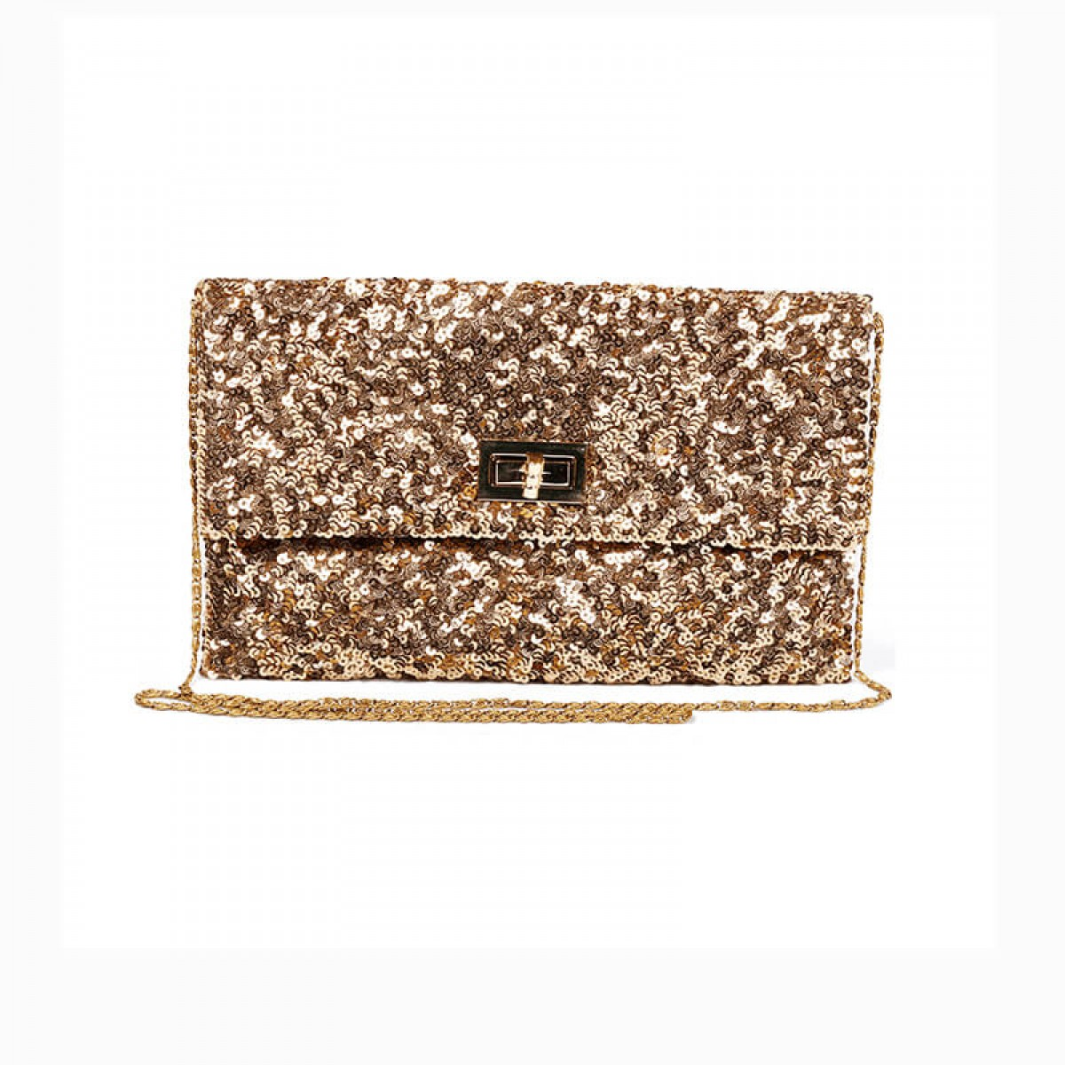 Sequin Clutch Bag - Gold