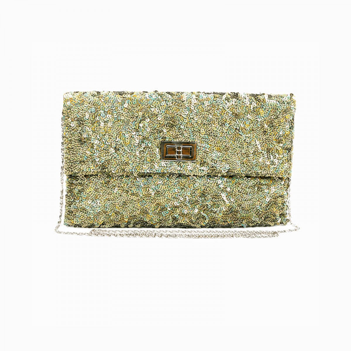 Sequin Clutch Bag - Olive