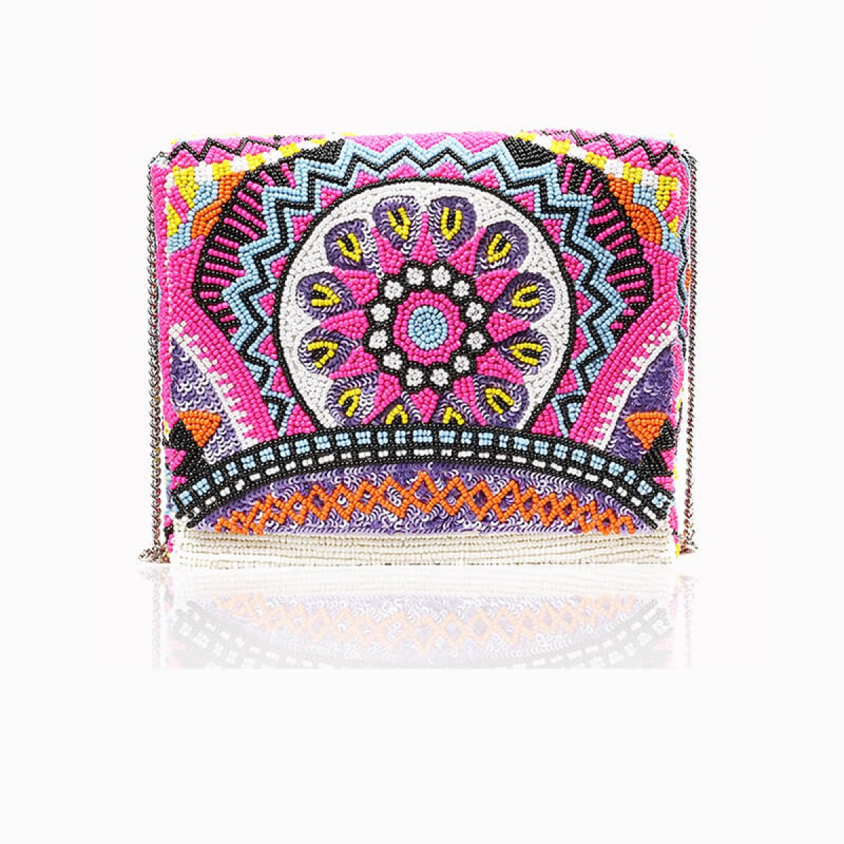 Beaded Evening  Box Flower Clutch Bag - Magenta