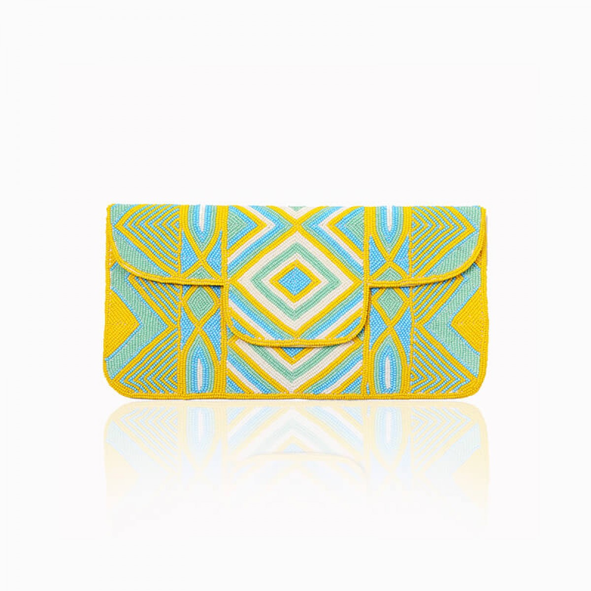 Beaded Envelop Evening Clutch Bag - Yellow