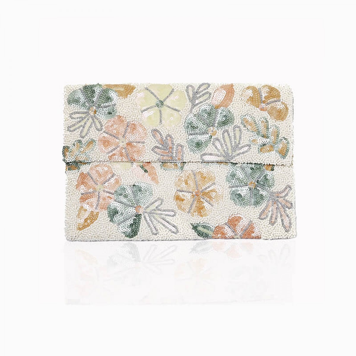 Beaded and Sequin Flower Clutch Bag - White