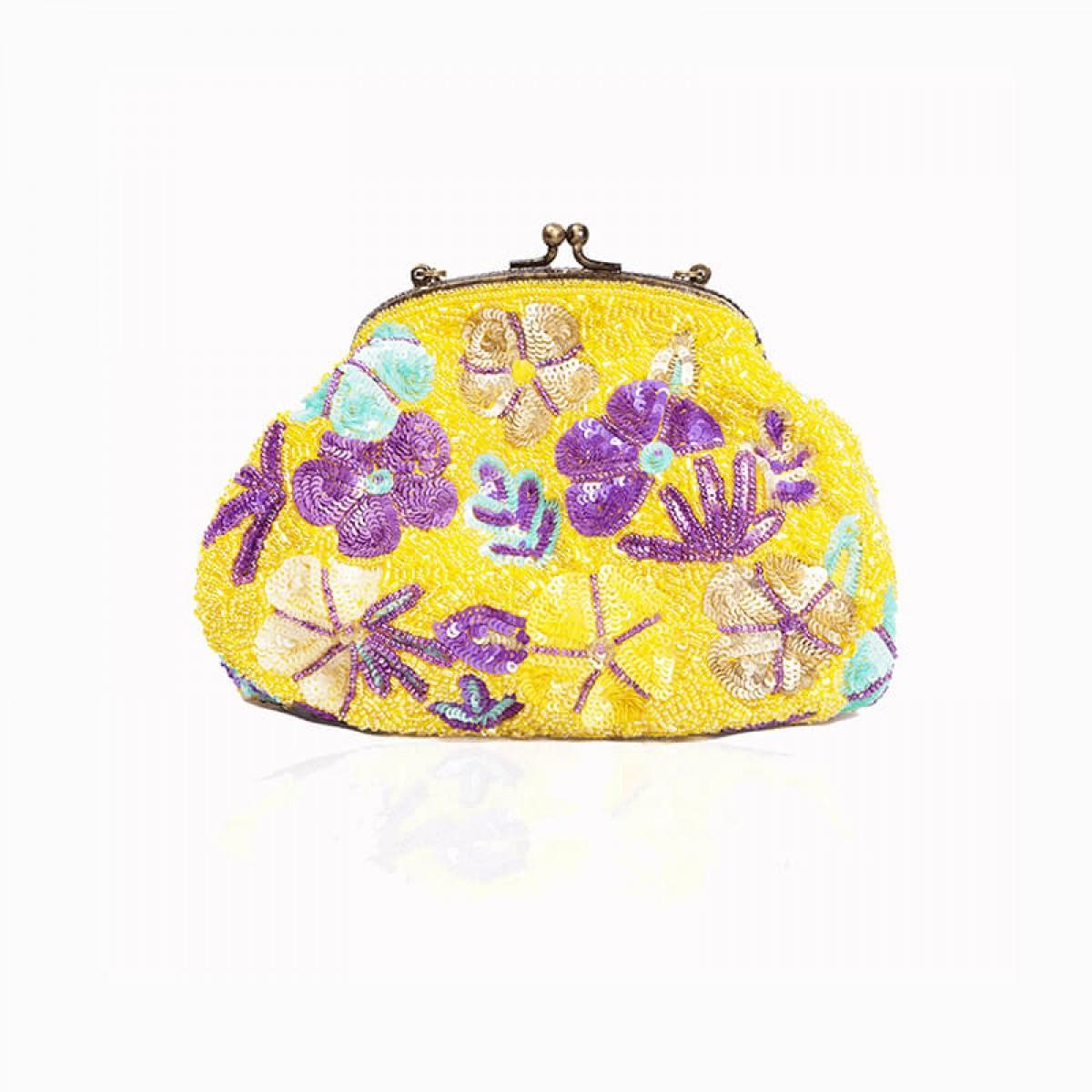 Beaded Sequin Flower Handbag - Yellow