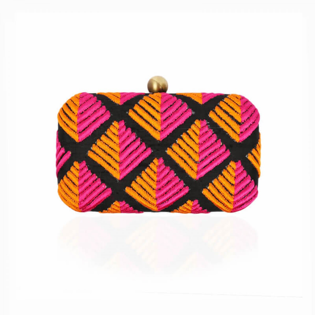 Evening Embroidery Clutch Bag - Black Fuchsia