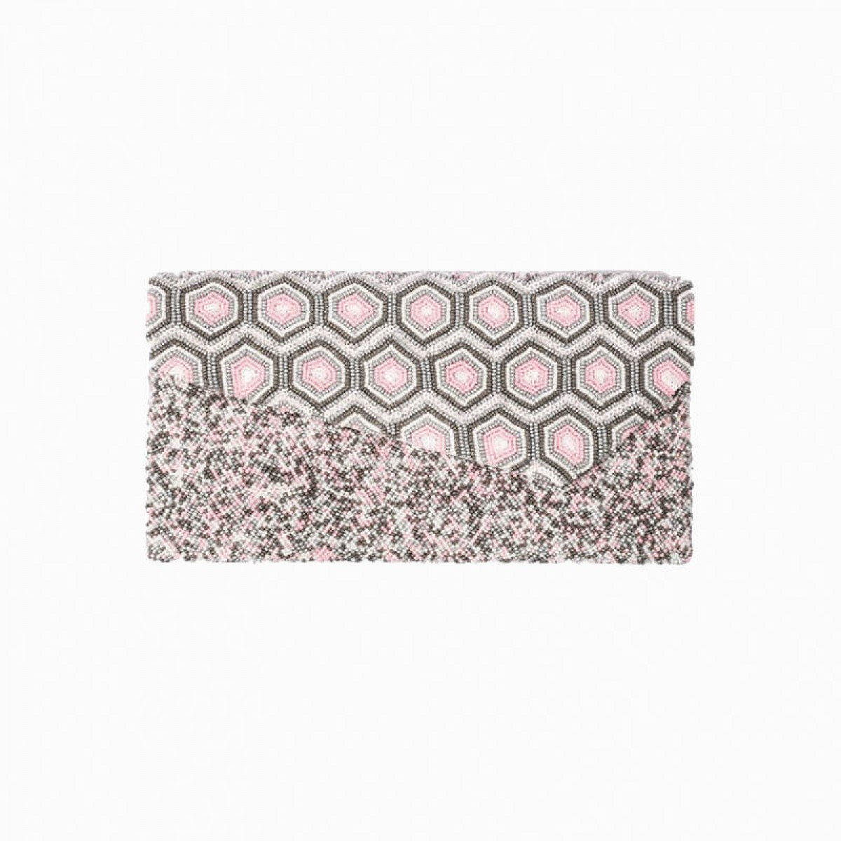 Beaded Evening Clutch Bag - Pink