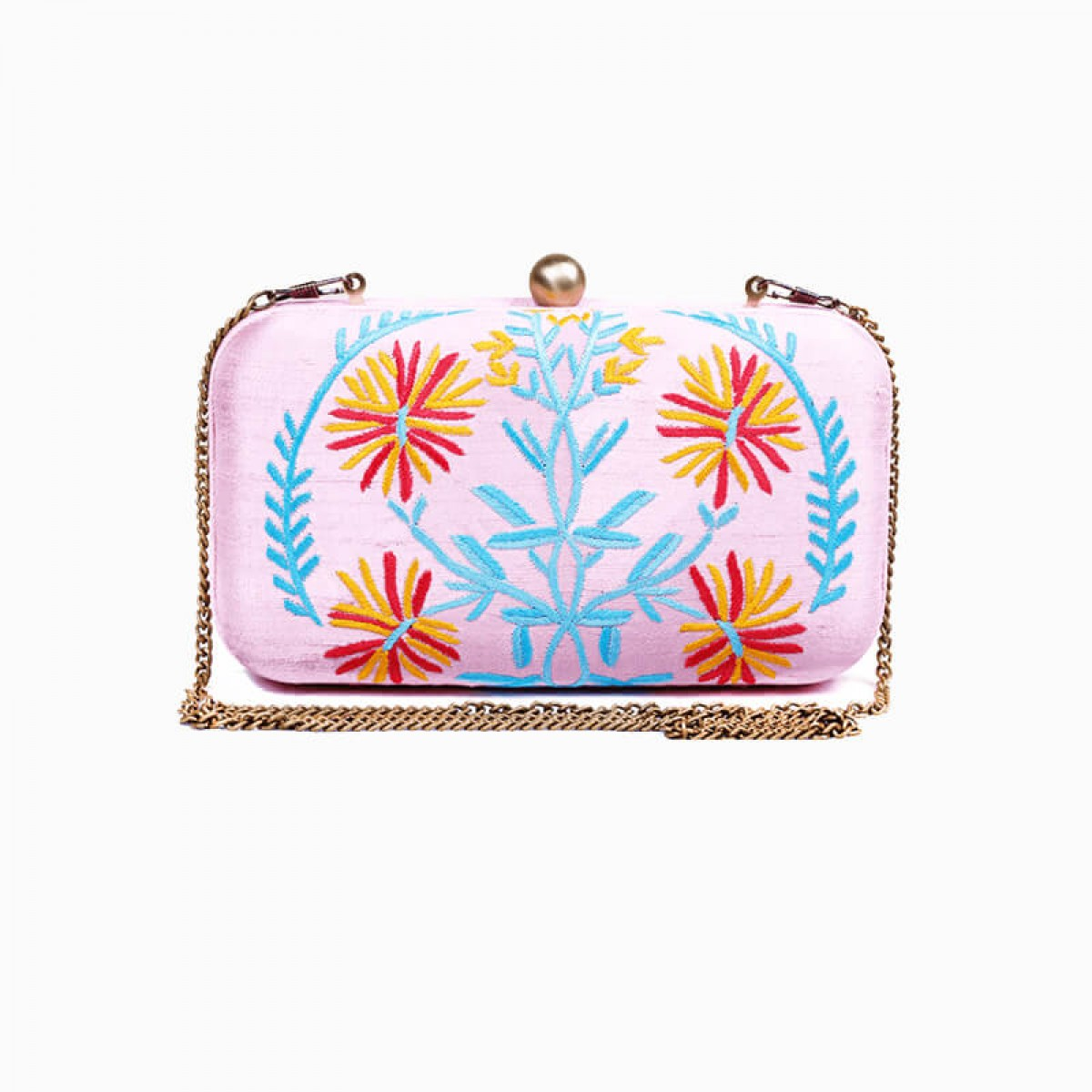 Pink raw silk hand embroidery clutch