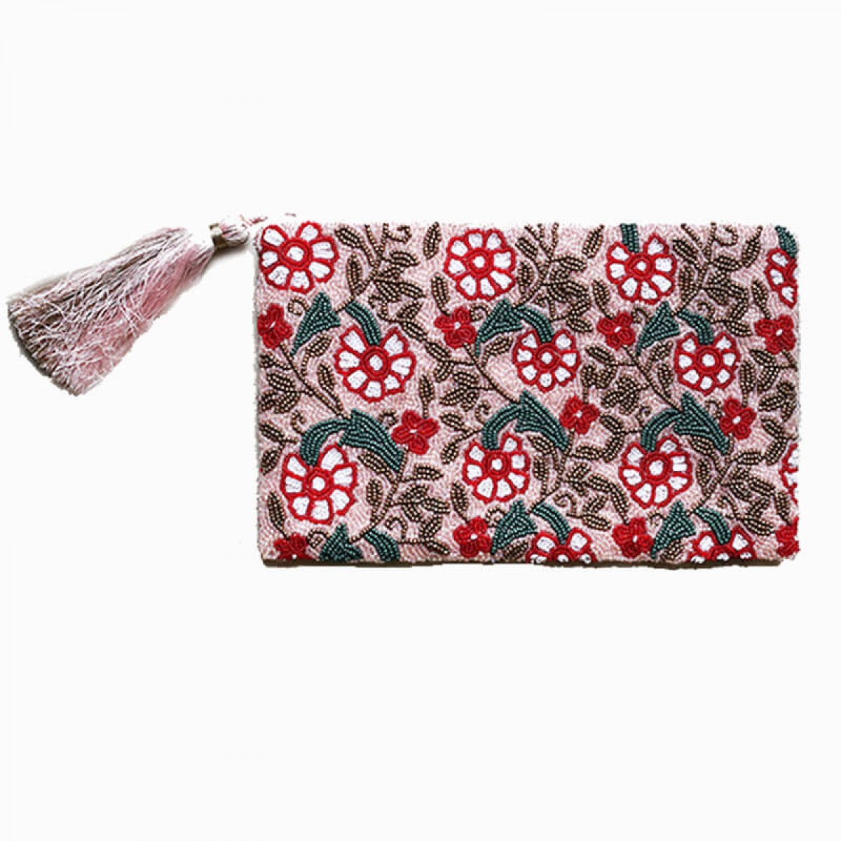 Beaded and Sequin Flower Clutch Bag