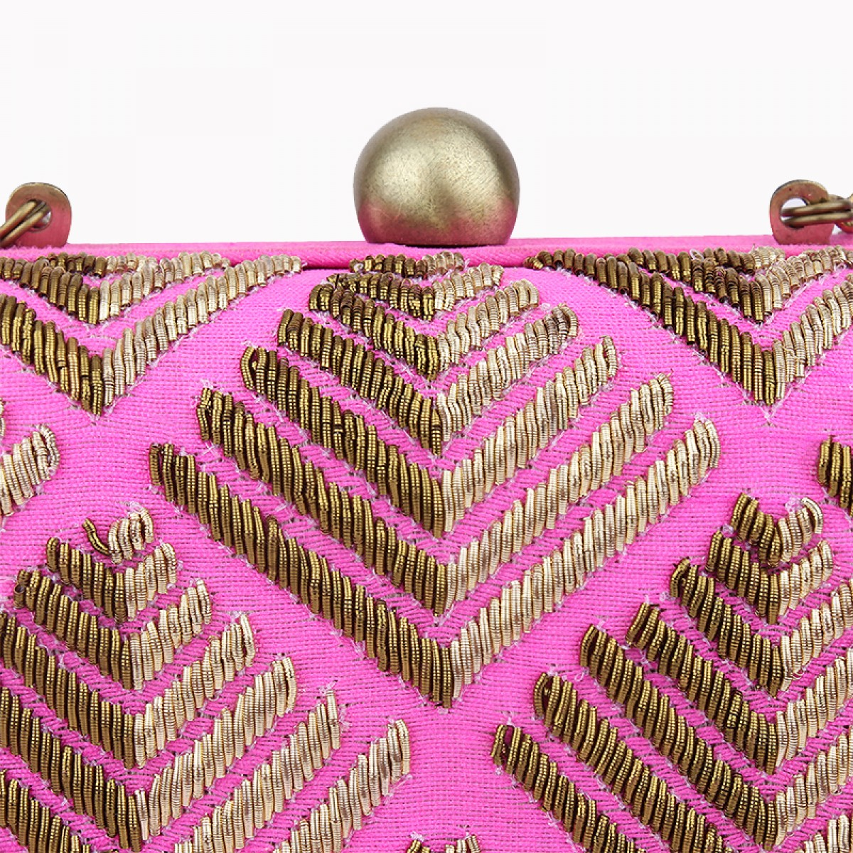 Evening Zardozi Embroidery Clutch Bag - Fuchsia