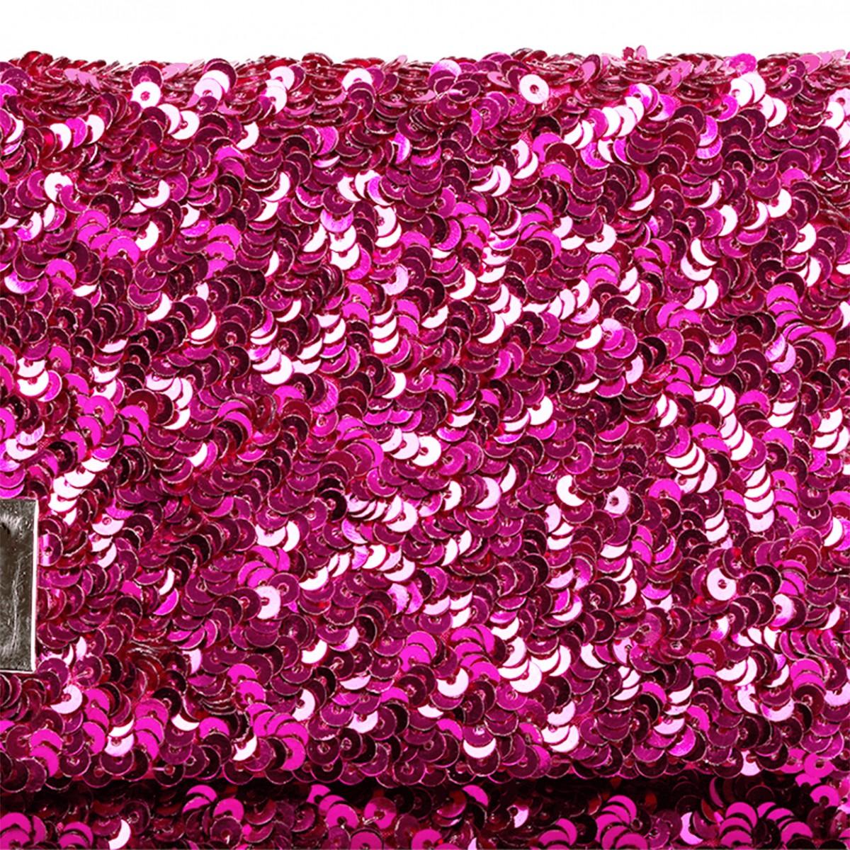 Fuchsia sequins crossbody handbag