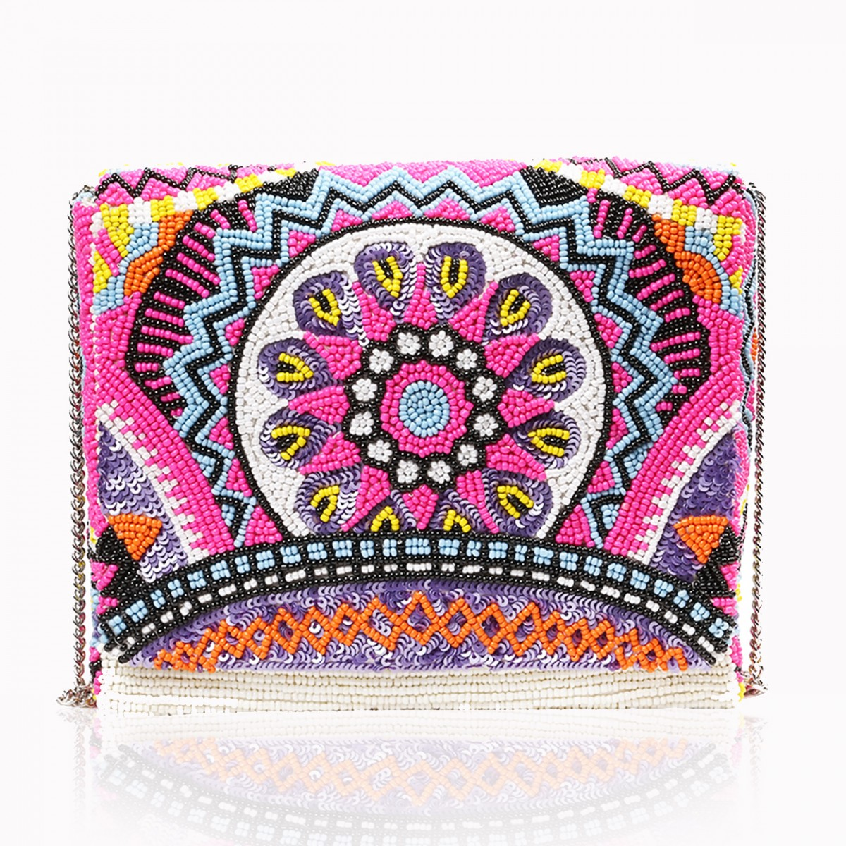 Magenta beaded flower evening clutch bag