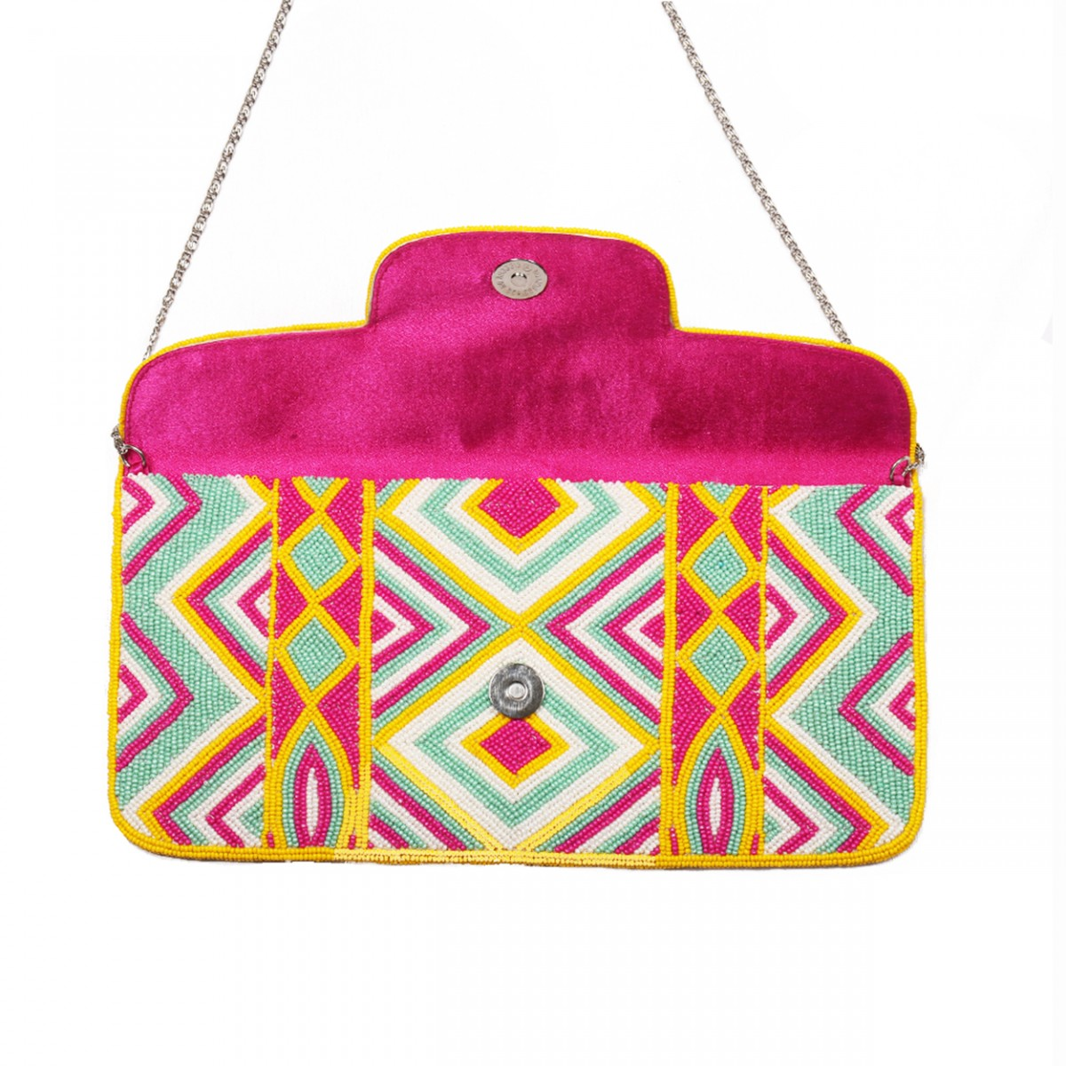 Beaded Envelop Evening Clutch Bag - Magenta