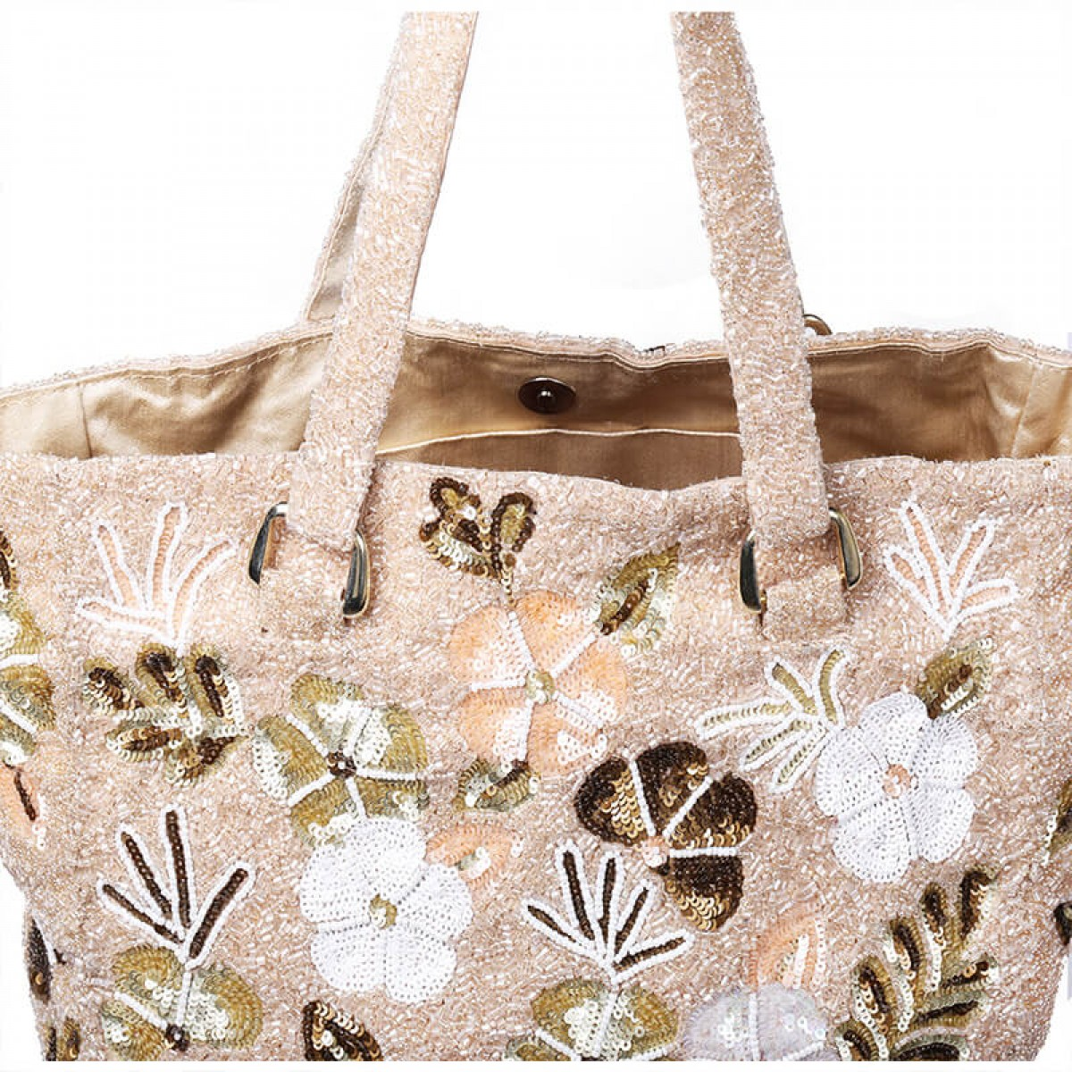 Beaded and Sequin Tote Bag - Beige