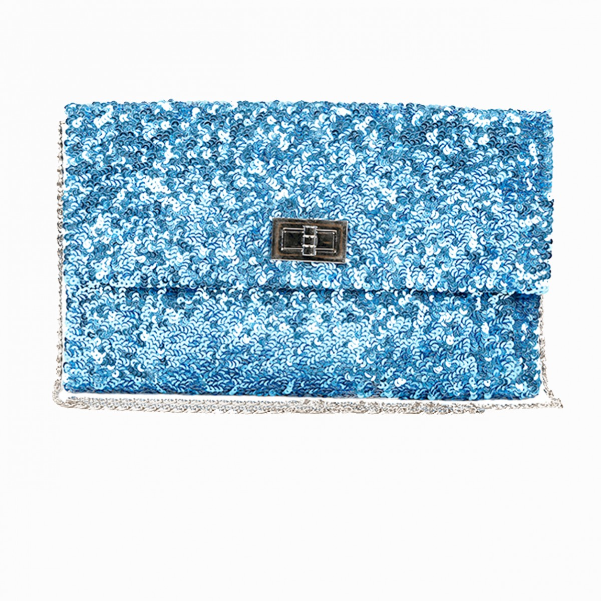Sky blue sequins crossbody handbag