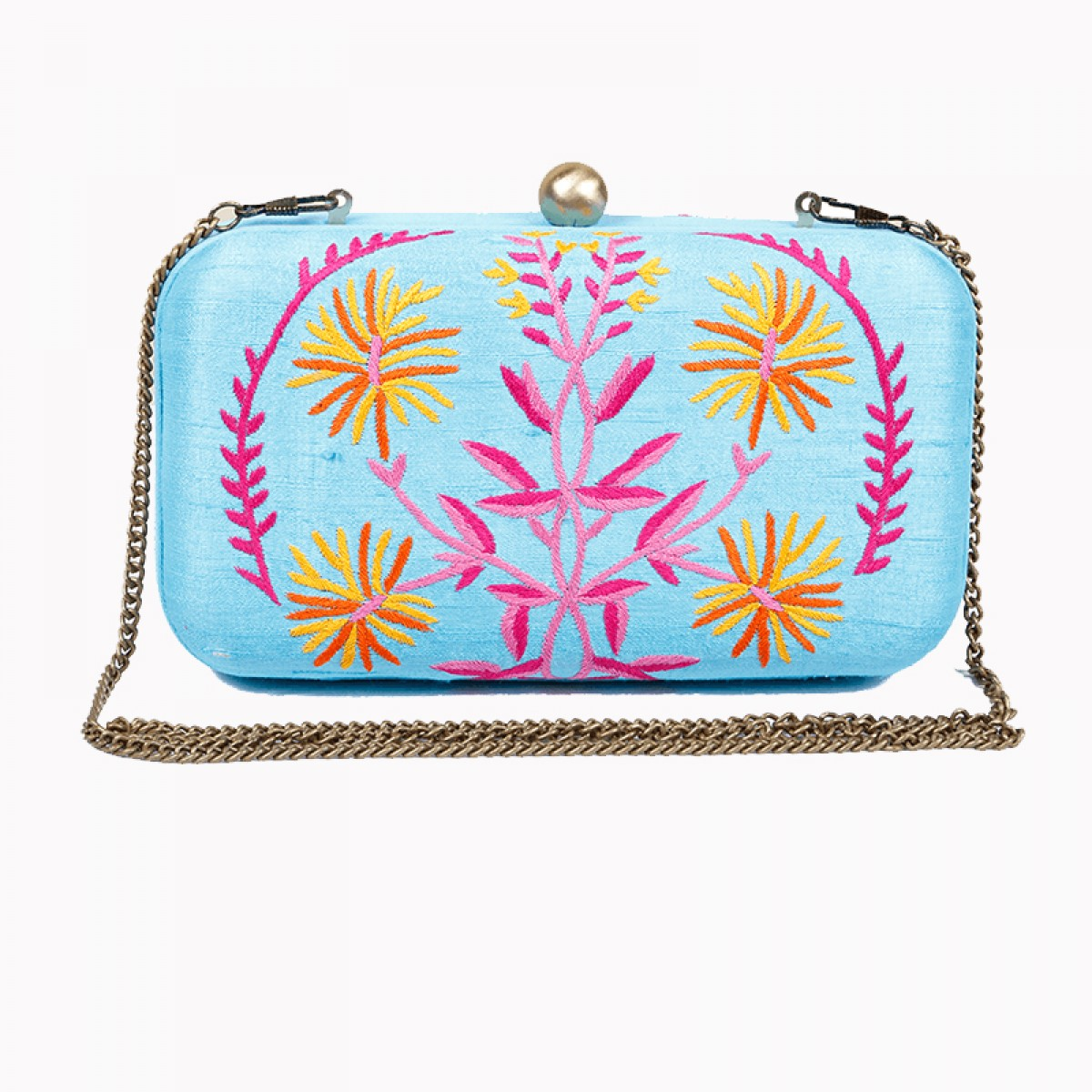 Turquoise raw silk hand embroidery clutches