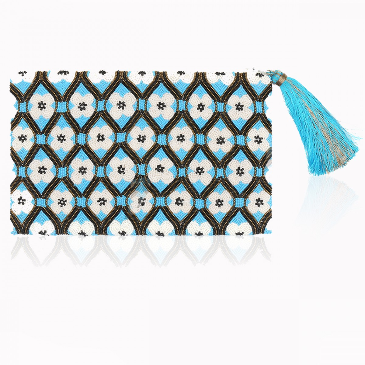 Turquoise beaded flower evening clutch bag