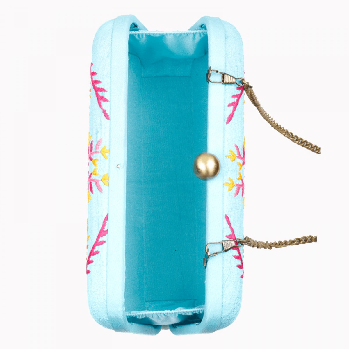 Evening Embroidery Raw Silk clutch Bag - Turquoise