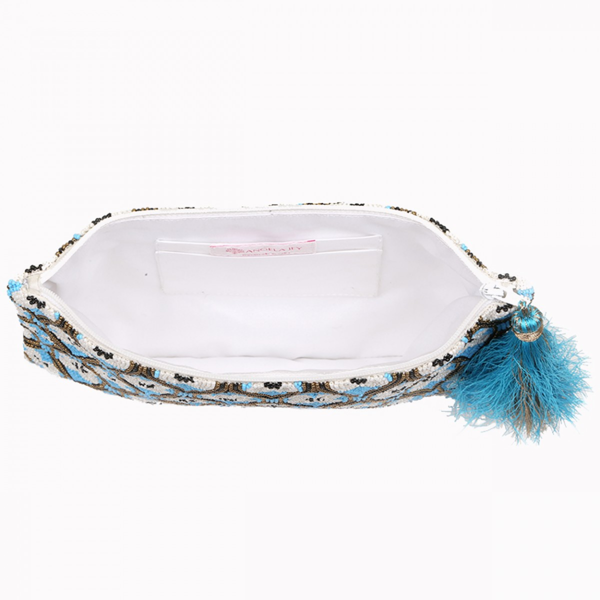 Beaded Pouch Evening Clutch Bag - Turquoise