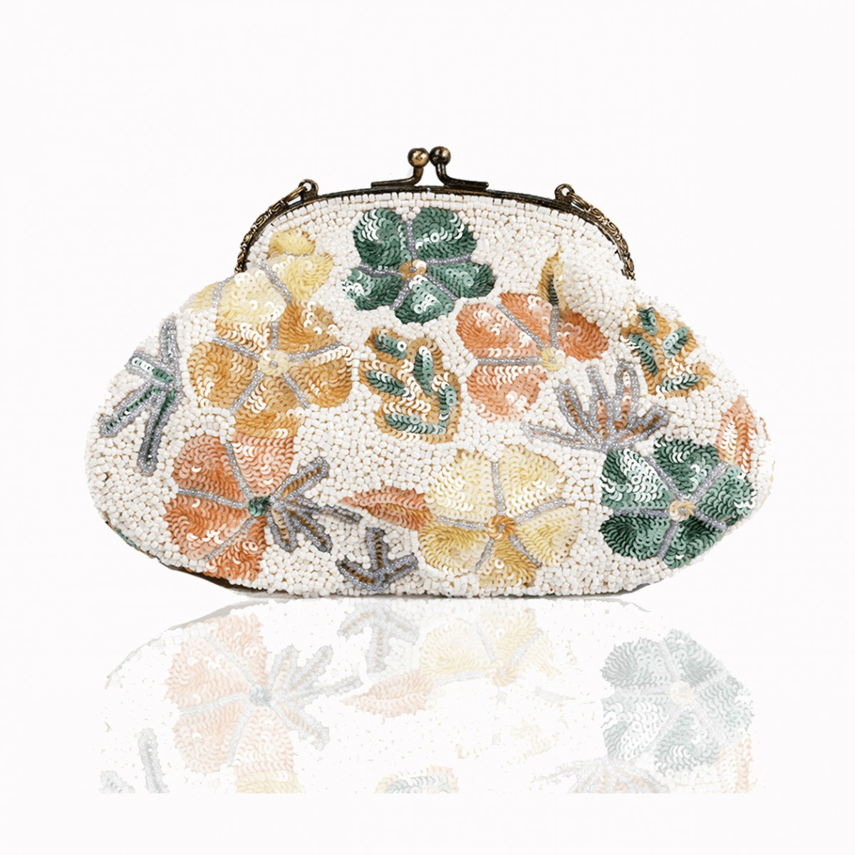 Green flower sequins handbag