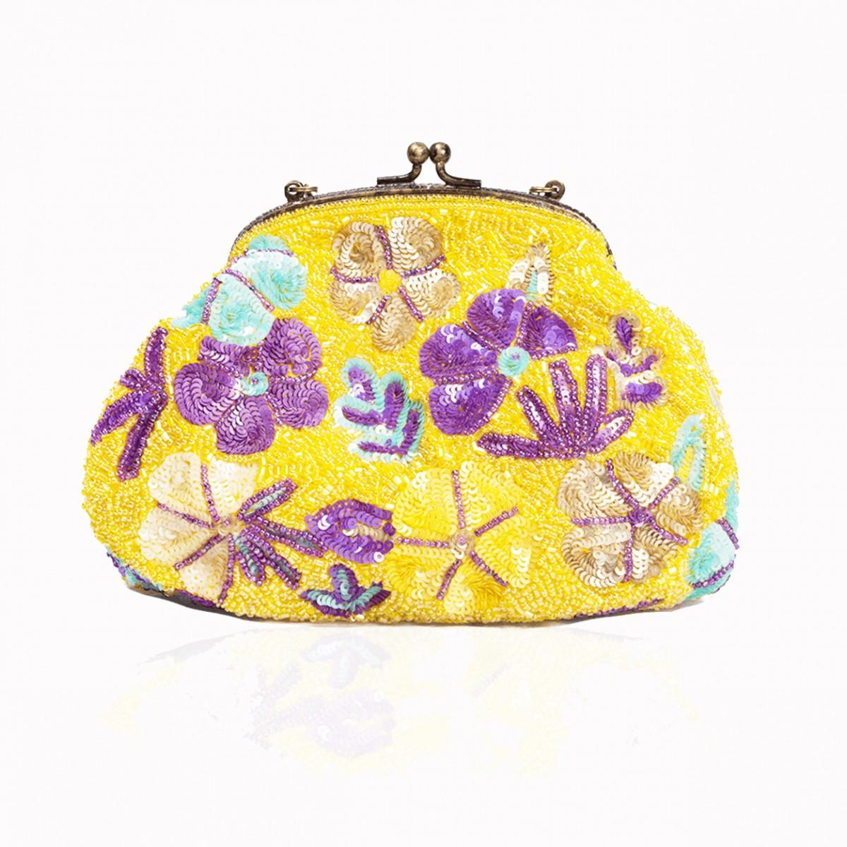 Yellow flower sequins handbag