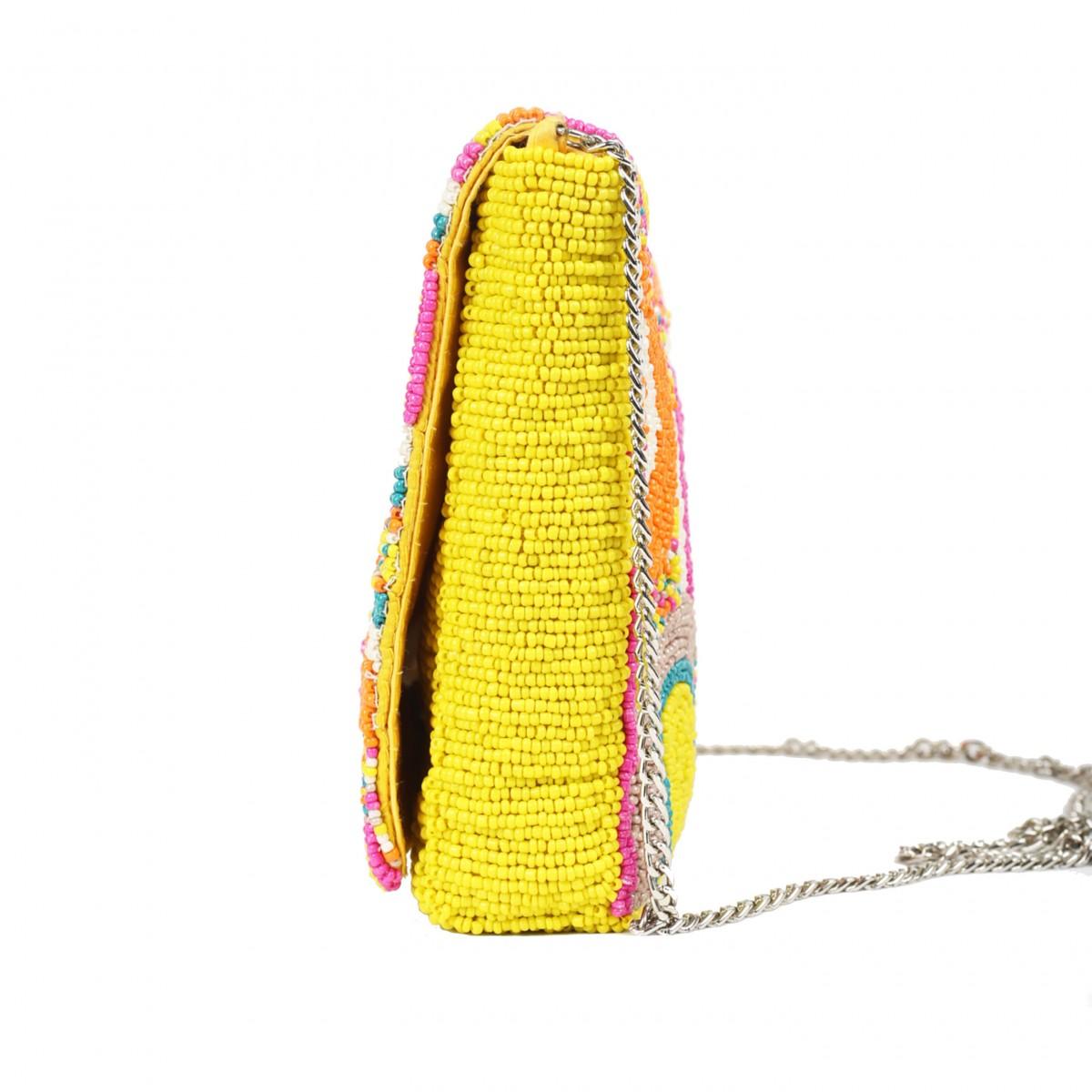 Beaded Evening  Box Clutch Bag - Multi Color