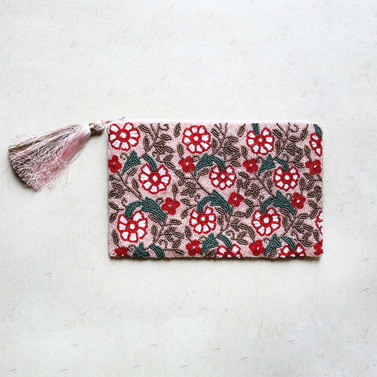 Flower sequin and beaded clutch bag