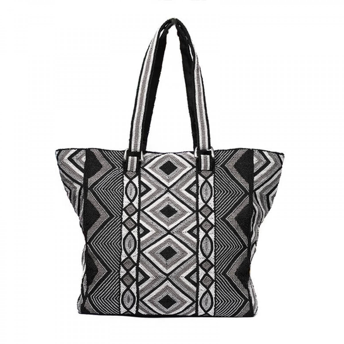 Handcrafted beaded black tote bag