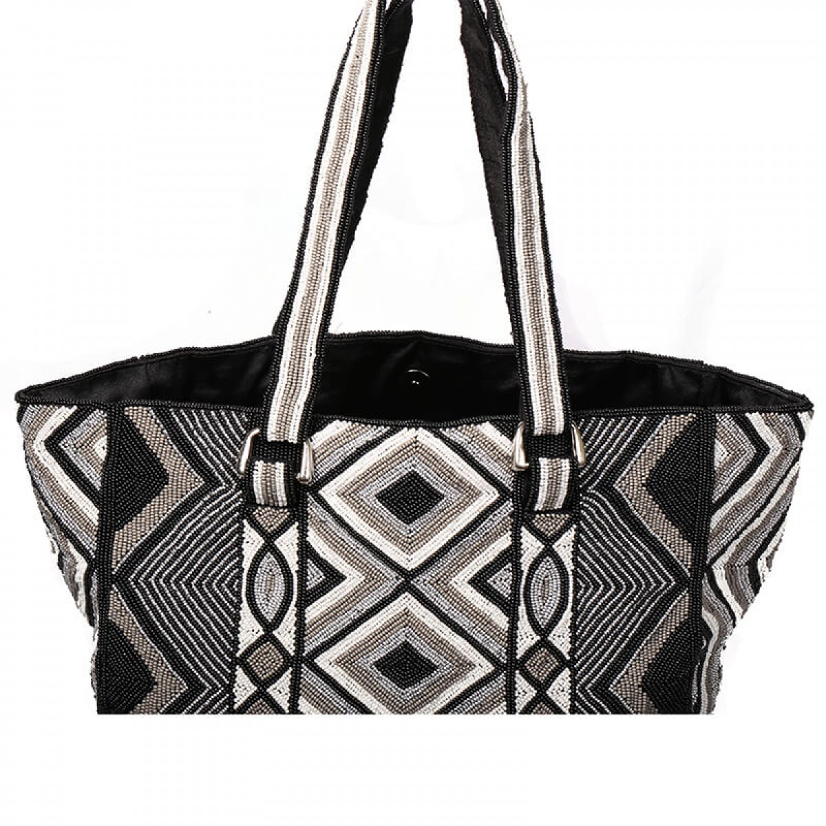 Beaded Tote Bag - Black