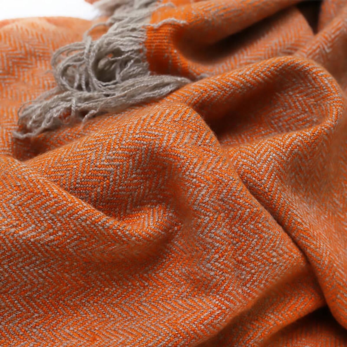 Cashmere Throw in Herringbone Weave - Mandarin (Made to Order)