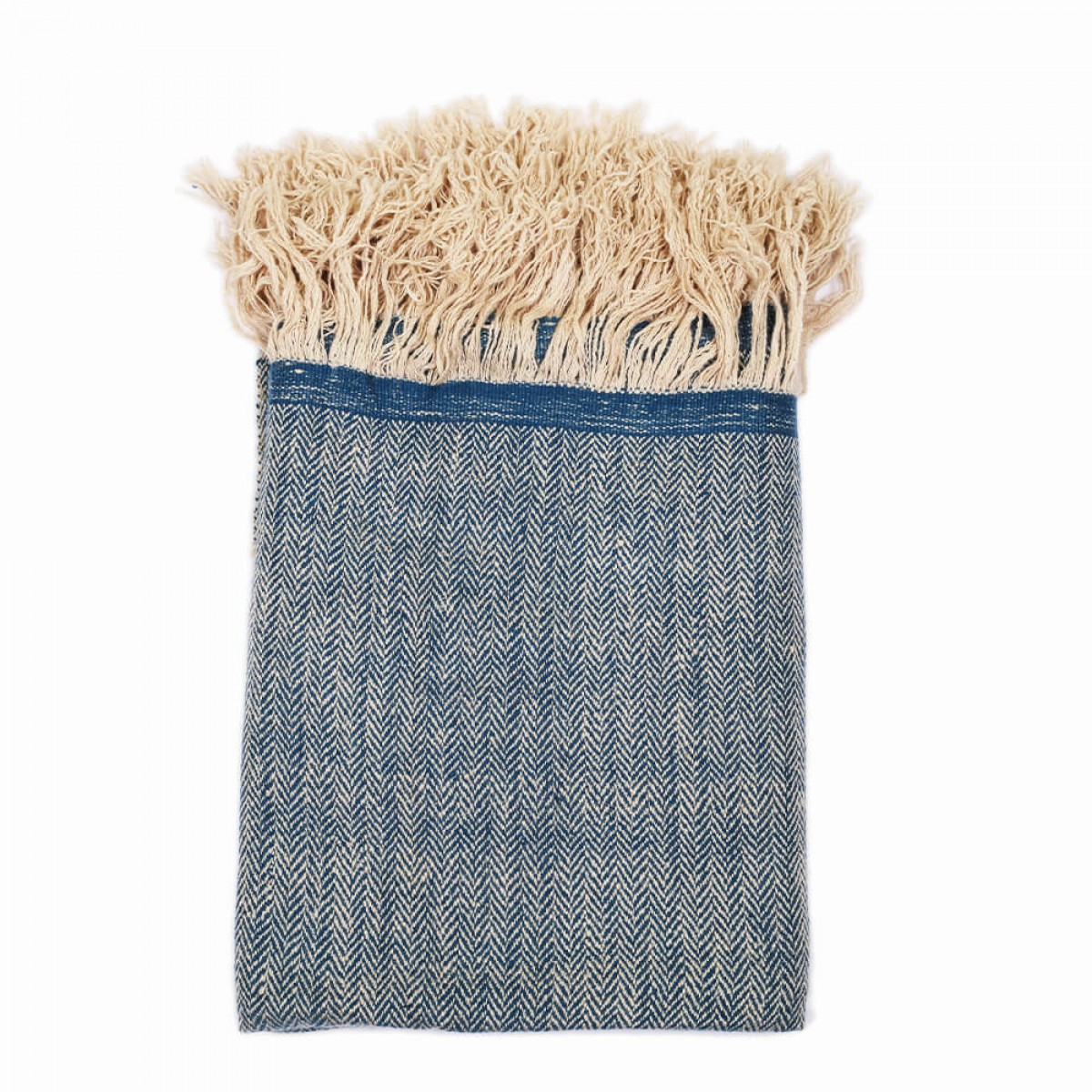 Cashmere Throw in Herringbone Weave - Blue (Made to Order)