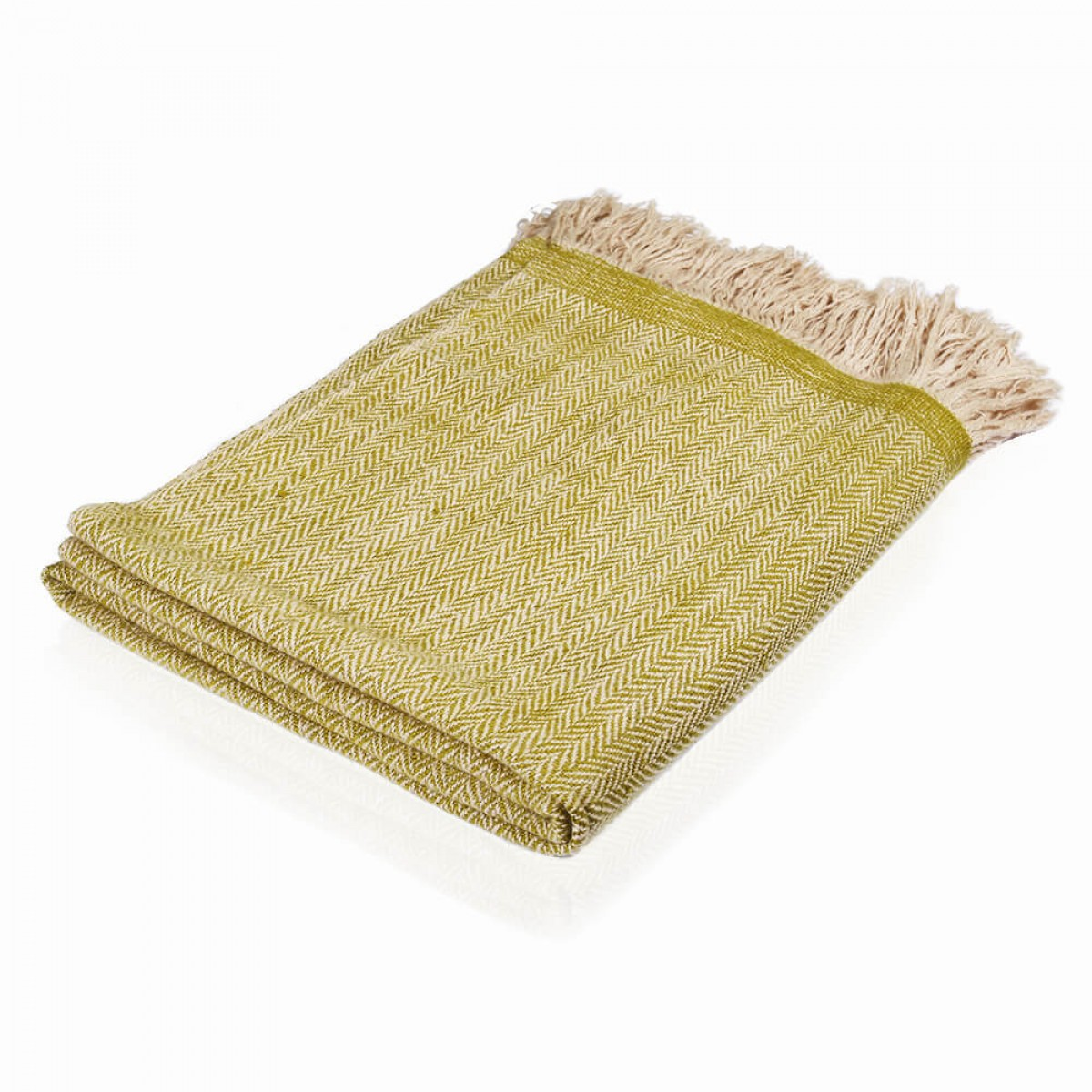 Cashmere Throw in Herringbone Weave - Olive