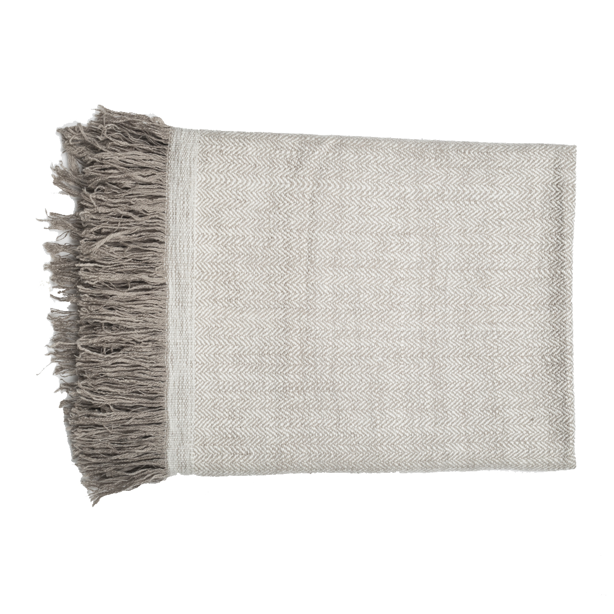 Cashmere Throw in Herringbone Weave - Beige (Made to Order)