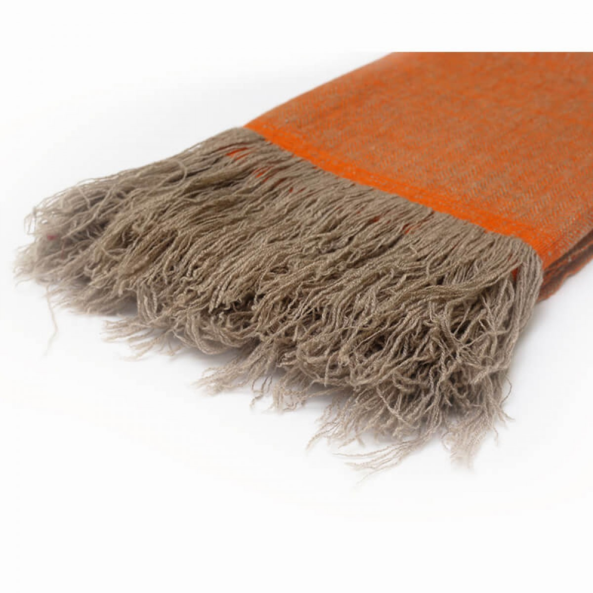 Cashmere throw in herringbone weave - mandarine