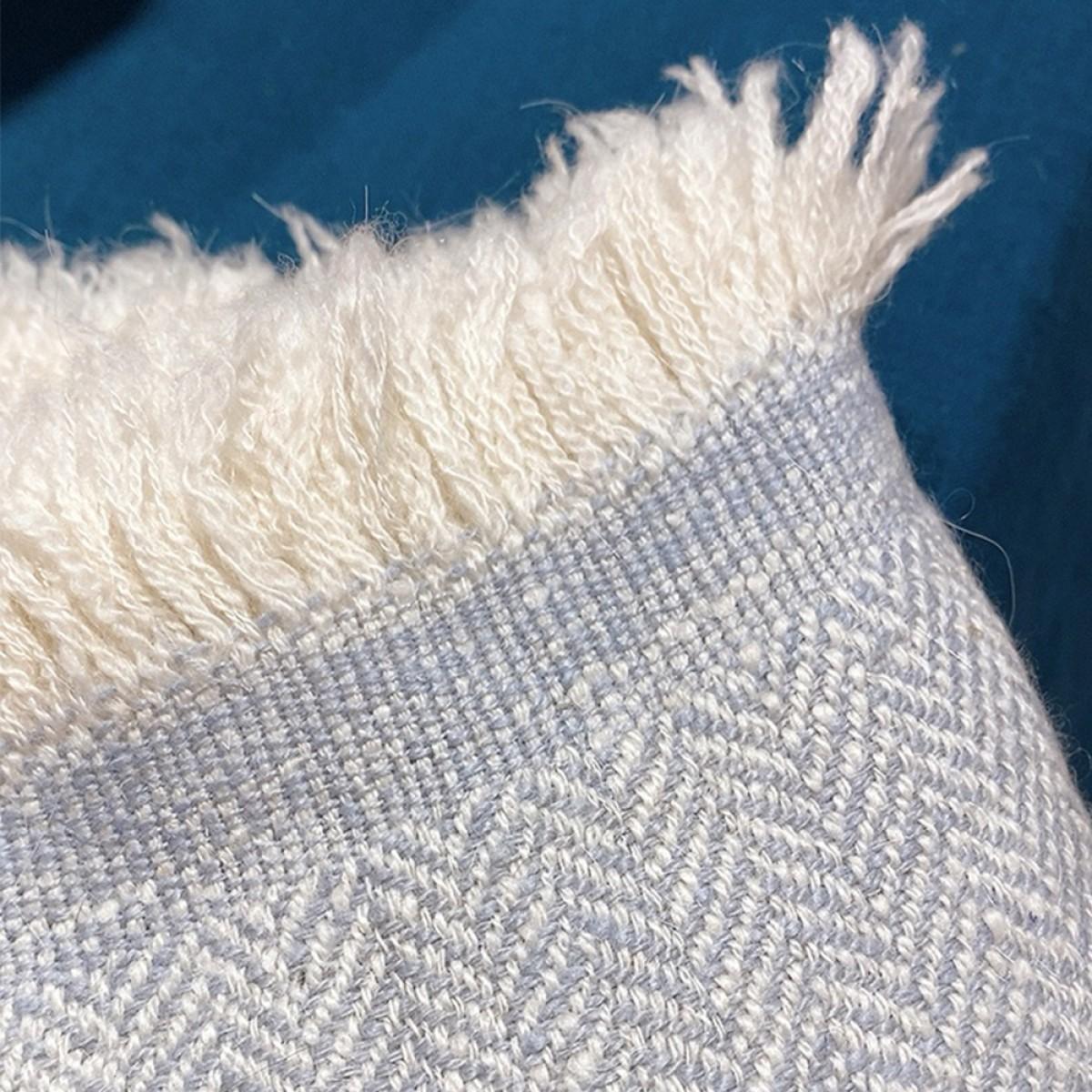 Blue Grey Herringbone Weave Baby Cashmere Blanket