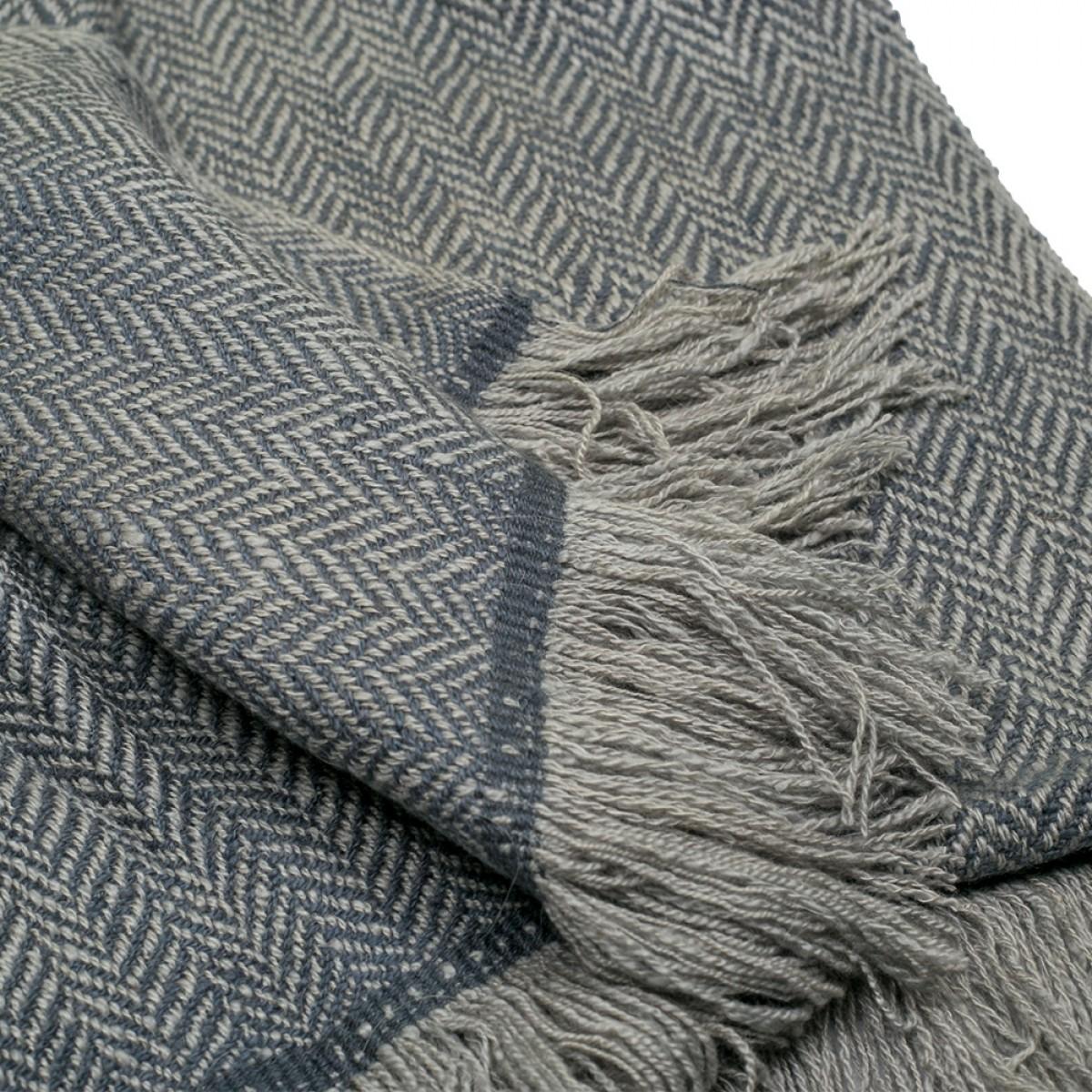 Grey Herringbone Weave Cashmere Blanket