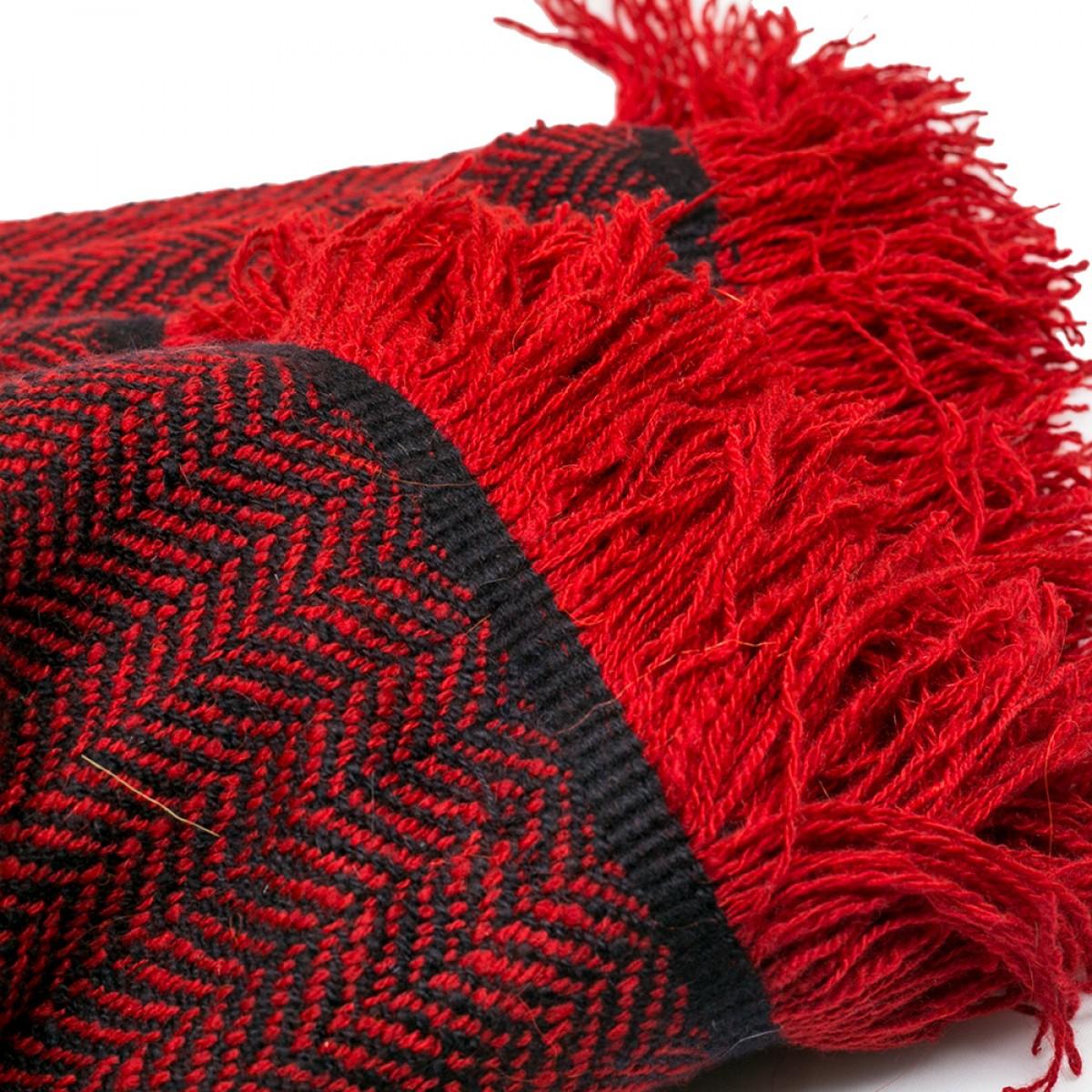 Red & Black Herringbone Weave Cashmere Blanket