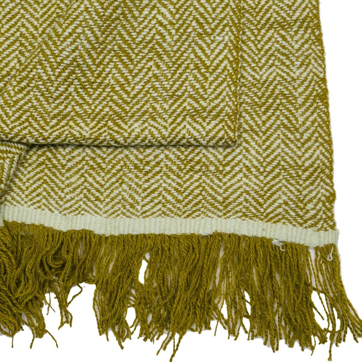 Olive Herringbone Weave Cashmere Blanket
