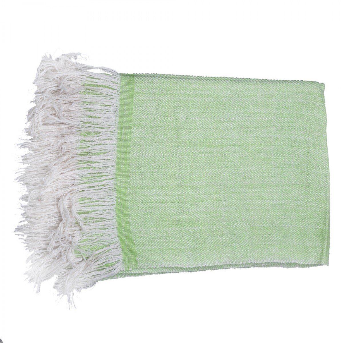 Apple Green Herringbone Weave Cashmere Blanket