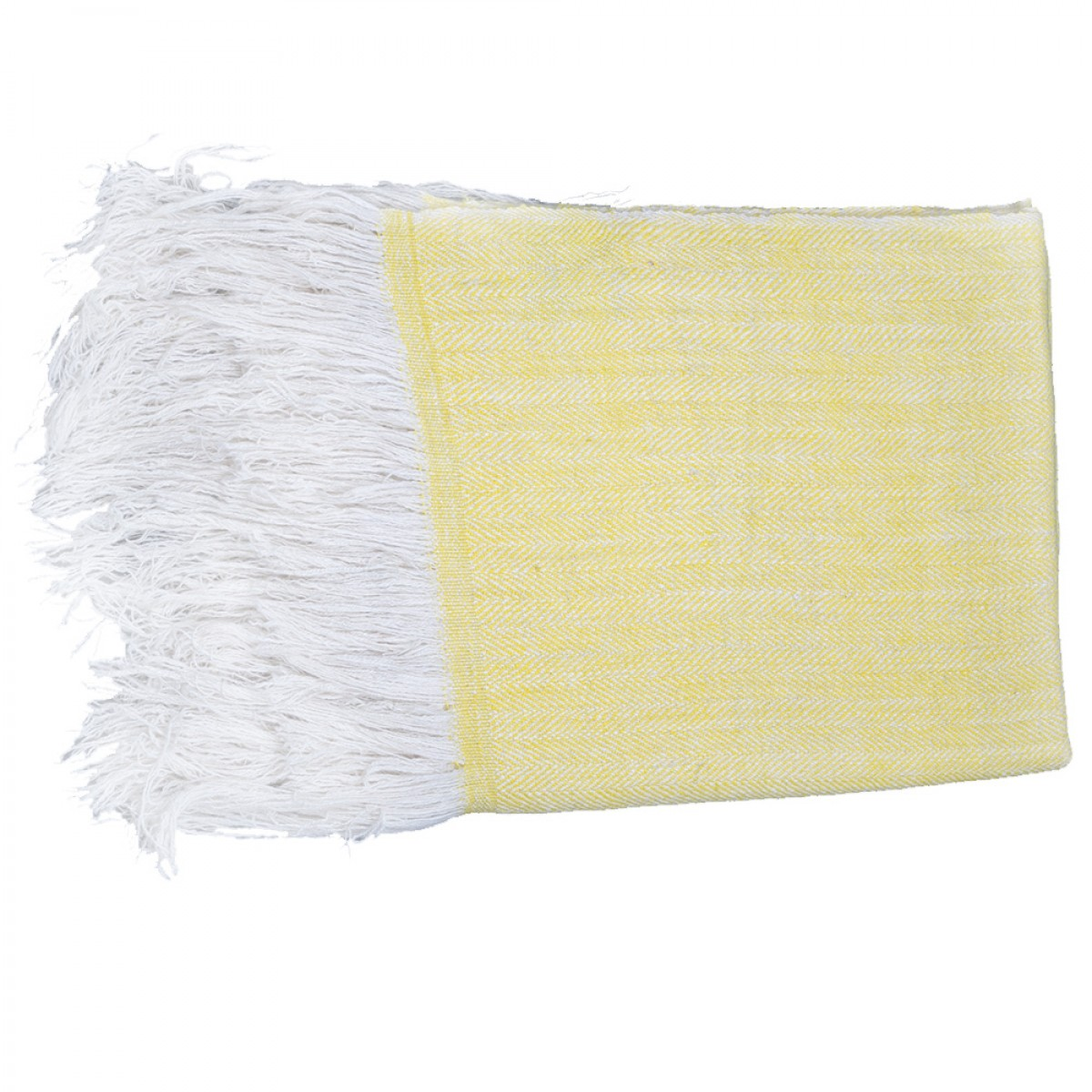 Lemon Yellow Herringbone Weave Cashmere Blanket