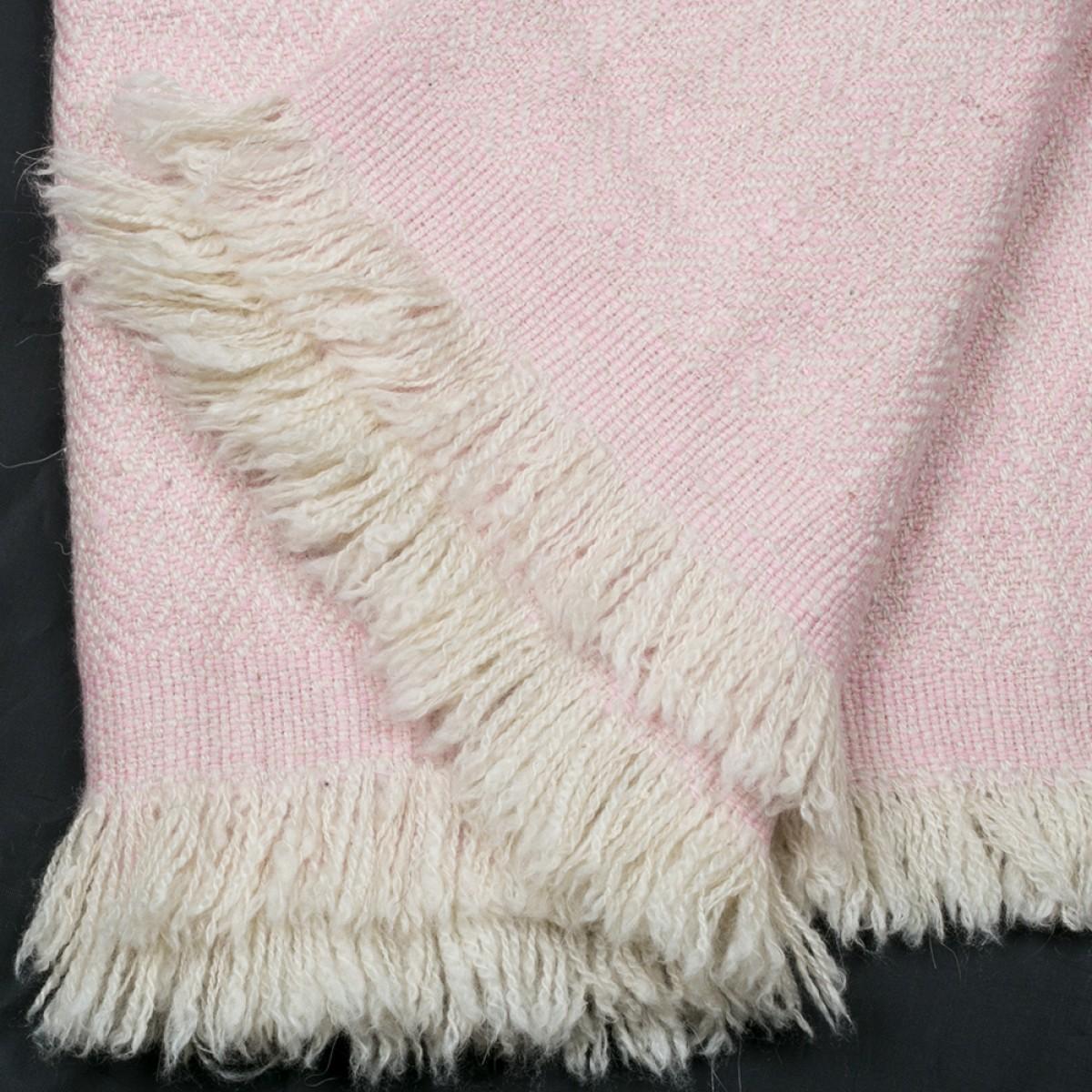 Baby Pink Herringbone Weave Baby Cashmere Blanket